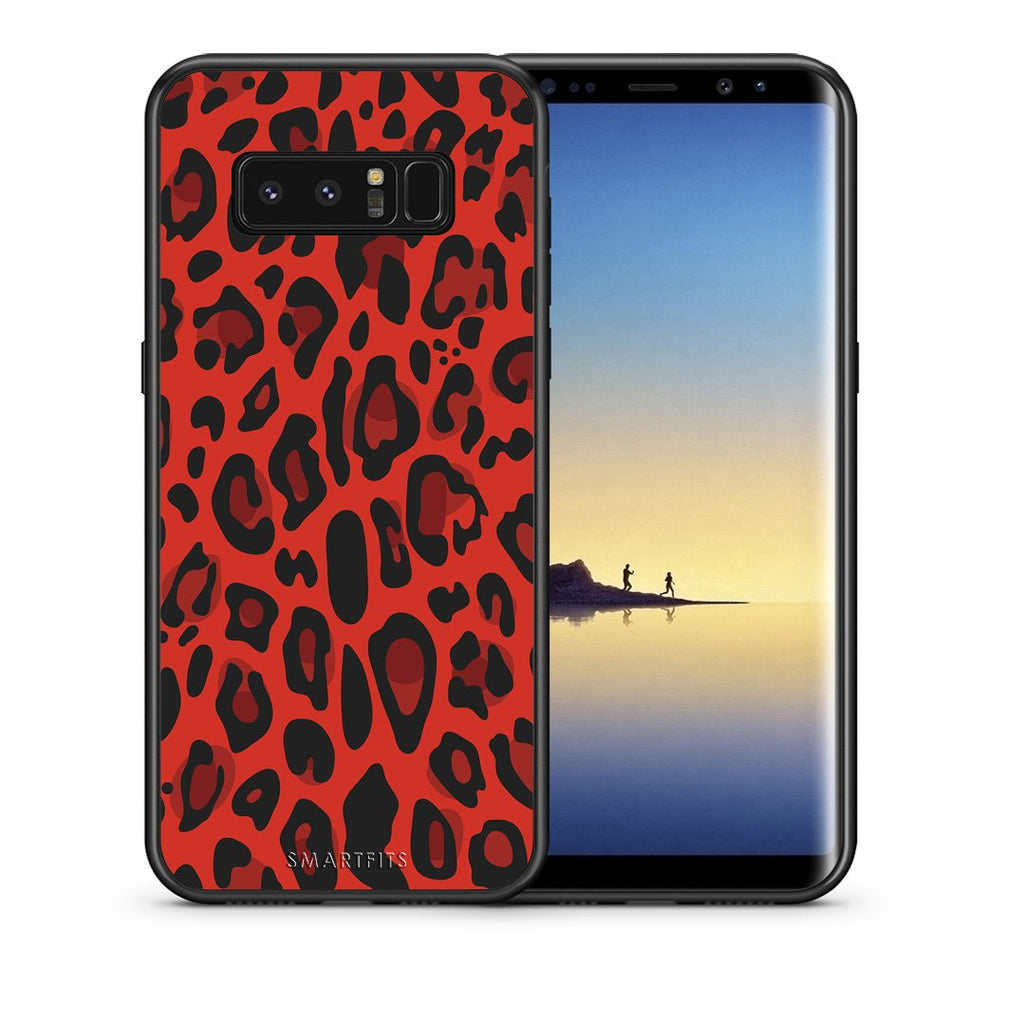 4 - samsung galaxy note 8 Red Leopard Animal case, cover, bumper