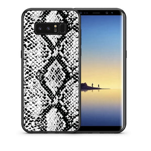 Θήκη Samsung Note 8 White Snake Animal από τη Smartfits με σχέδιο στο πίσω μέρος και μαύρο περίβλημα | Samsung Note 8 White Snake Animal case with colorful back and black bezels