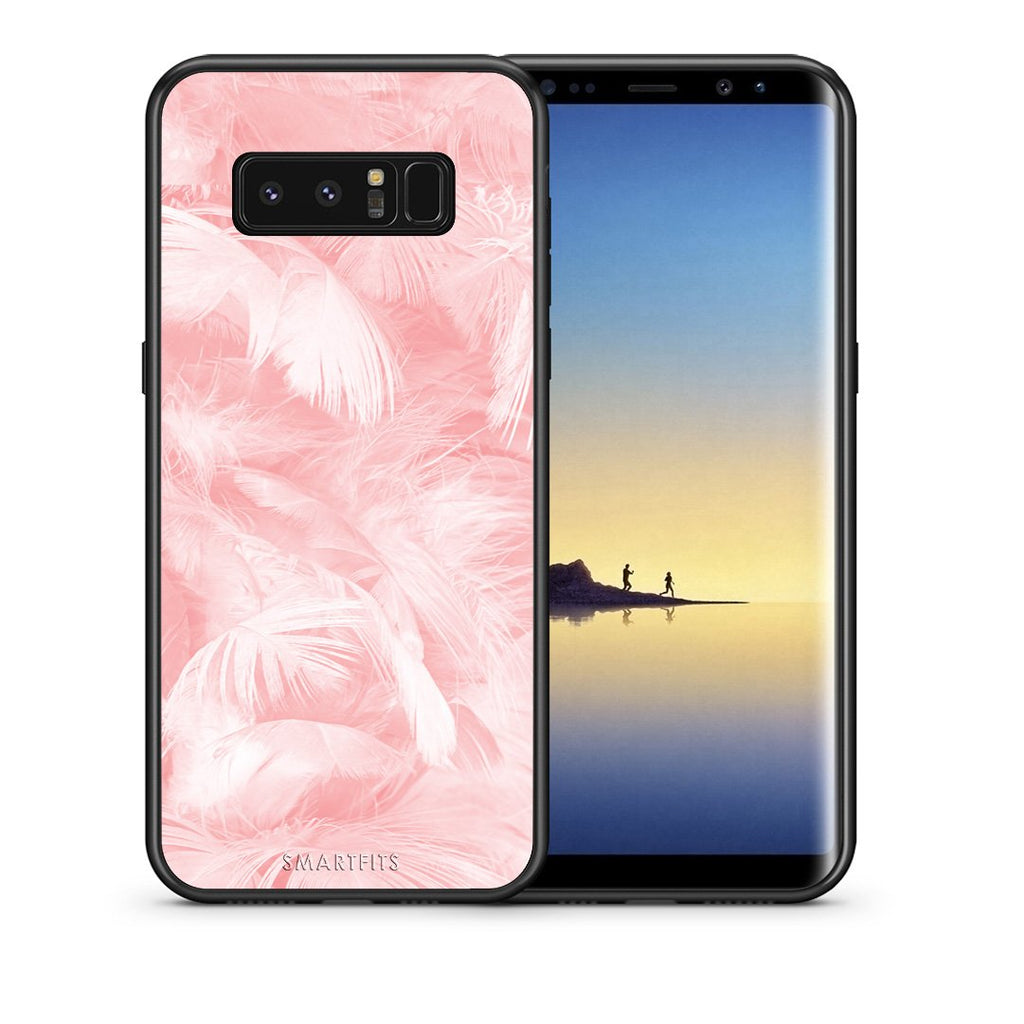 Θήκη Samsung Note 8 Pink Feather Boho από τη Smartfits με σχέδιο στο πίσω μέρος και μαύρο περίβλημα | Samsung Note 8 Pink Feather Boho case with colorful back and black bezels