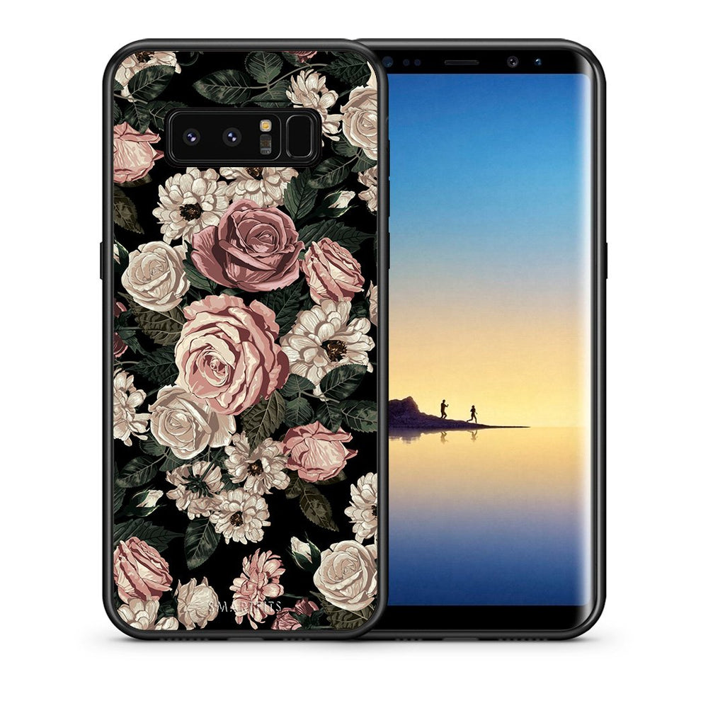 Θήκη Samsung Note 8 Wild Roses Flower από τη Smartfits με σχέδιο στο πίσω μέρος και μαύρο περίβλημα | Samsung Note 8 Wild Roses Flower case with colorful back and black bezels