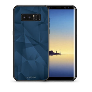 Θήκη Samsung Note 8 Blue Abstract Geometric από τη Smartfits με σχέδιο στο πίσω μέρος και μαύρο περίβλημα | Samsung Note 8 Blue Abstract Geometric case with colorful back and black bezels