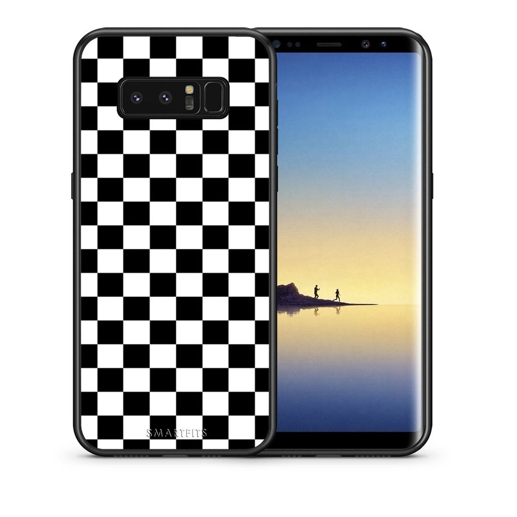 Θήκη Samsung Note 8 Squares Geometric από τη Smartfits με σχέδιο στο πίσω μέρος και μαύρο περίβλημα | Samsung Note 8 Squares Geometric case with colorful back and black bezels