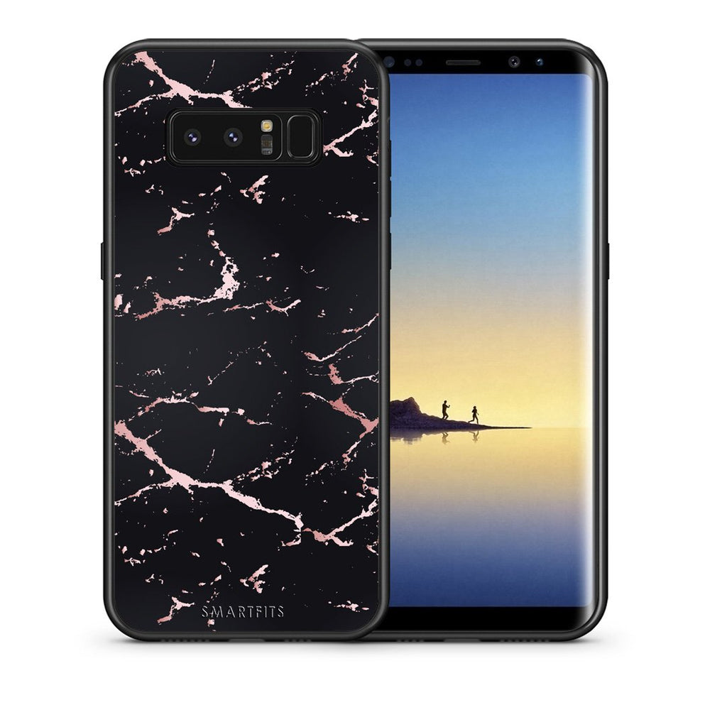 Θήκη Samsung Note 8 Black Rosegold Marble από τη Smartfits με σχέδιο στο πίσω μέρος και μαύρο περίβλημα | Samsung Note 8 Black Rosegold Marble case with colorful back and black bezels