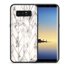 Θήκη Samsung Note 8 Gold Geometric Marble από τη Smartfits με σχέδιο στο πίσω μέρος και μαύρο περίβλημα | Samsung Note 8 Gold Geometric Marble case with colorful back and black bezels