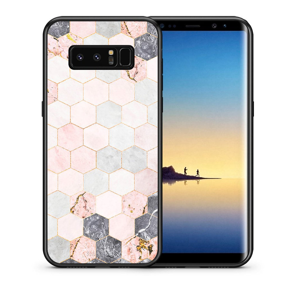 Θήκη Samsung Note 8 Hexagon Pink Marble από τη Smartfits με σχέδιο στο πίσω μέρος και μαύρο περίβλημα | Samsung Note 8 Hexagon Pink Marble case with colorful back and black bezels