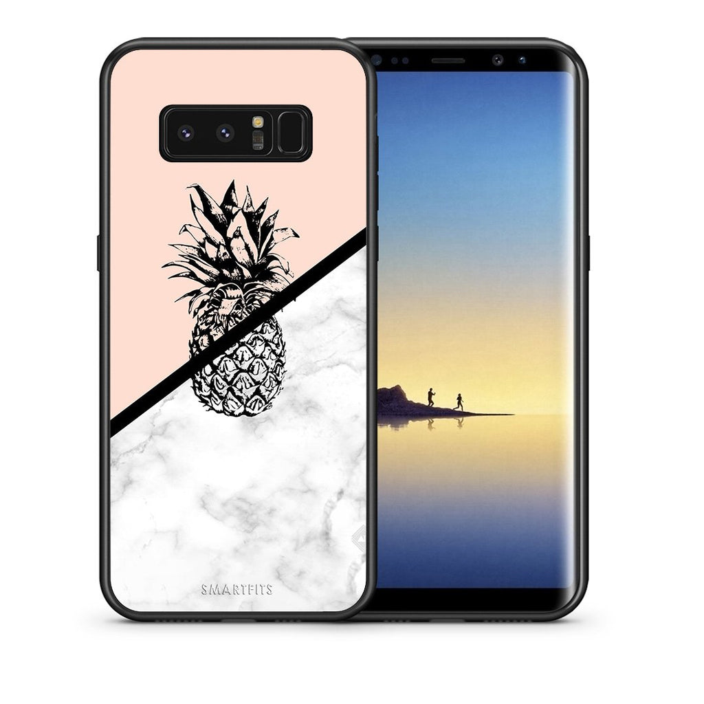 Θήκη Samsung Note 8 Pineapple Marble από τη Smartfits με σχέδιο στο πίσω μέρος και μαύρο περίβλημα | Samsung Note 8 Pineapple Marble case with colorful back and black bezels