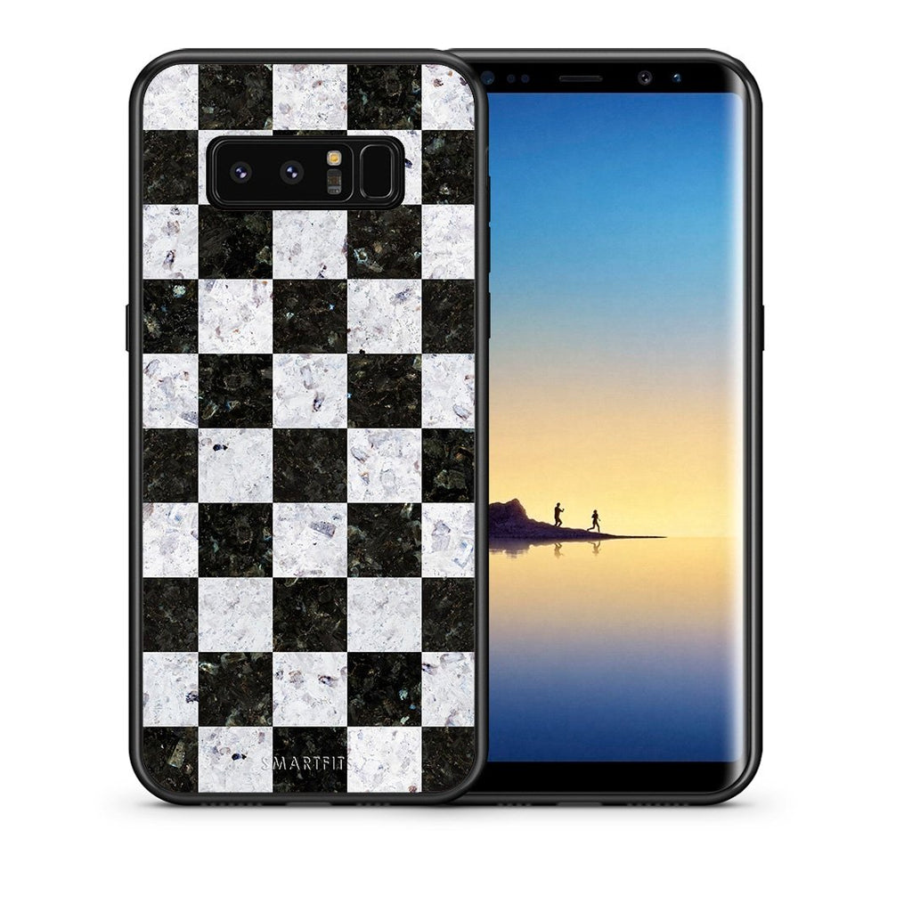 Θήκη Samsung Note 8 Square Geometric Marble από τη Smartfits με σχέδιο στο πίσω μέρος και μαύρο περίβλημα | Samsung Note 8 Square Geometric Marble case with colorful back and black bezels