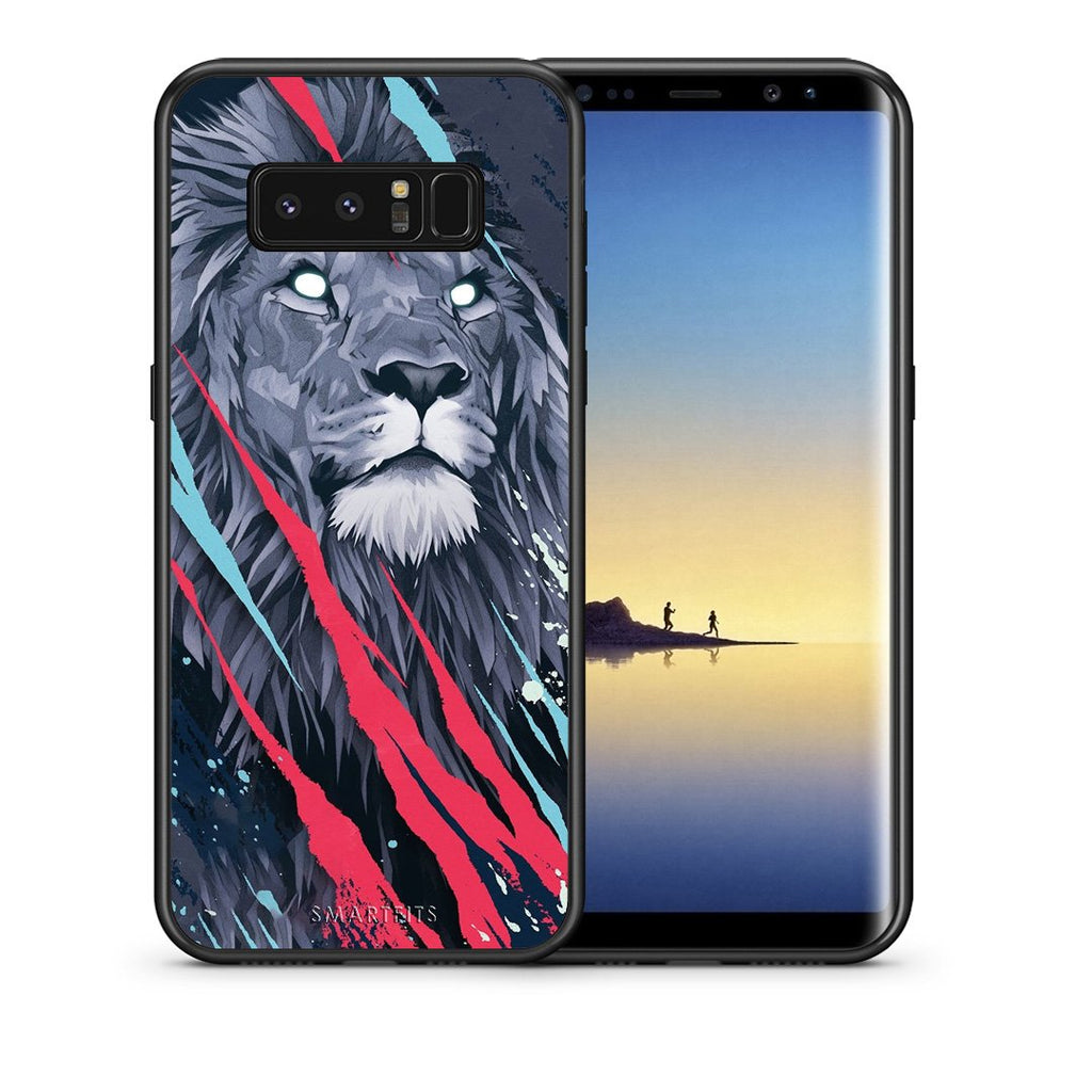 Θήκη Samsung Note 8 Lion Designer PopArt από τη Smartfits με σχέδιο στο πίσω μέρος και μαύρο περίβλημα | Samsung Note 8 Lion Designer PopArt case with colorful back and black bezels