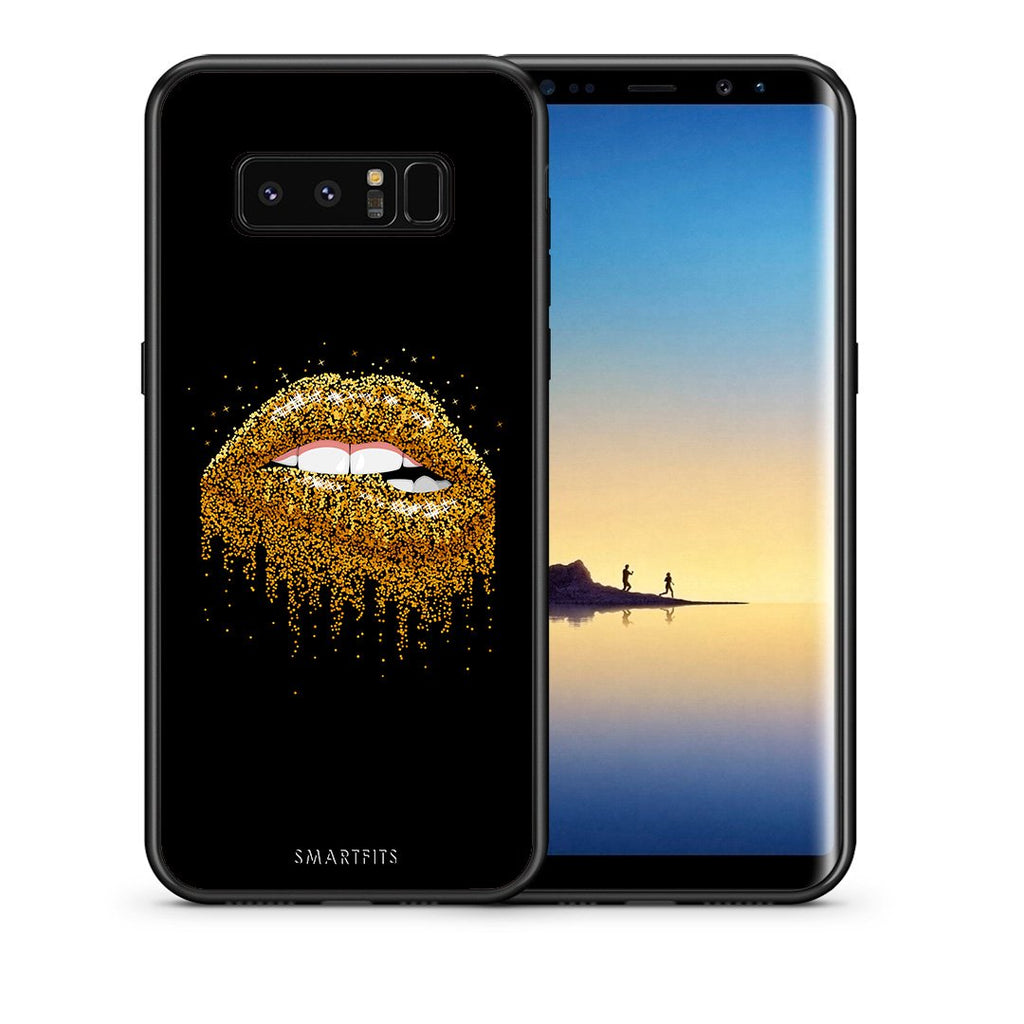 Θήκη Samsung Note 8 Golden Valentine από τη Smartfits με σχέδιο στο πίσω μέρος και μαύρο περίβλημα | Samsung Note 8 Golden Valentine case with colorful back and black bezels