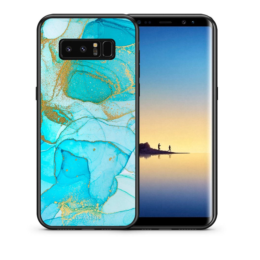 Θήκη Samsung Note 8 Turquoise Gold Watercolor από τη Smartfits με σχέδιο στο πίσω μέρος και μαύρο περίβλημα | Samsung Note 8 Turquoise Gold Watercolor case with colorful back and black bezels