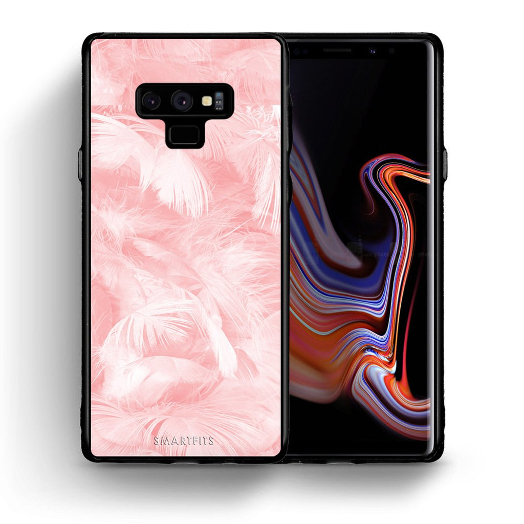 33 - samsung galaxy note 9 Pink Feather Boho case, cover, bumper
