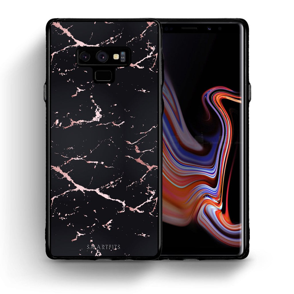 4 - samsung galaxy note 9 Black Rosegold Marble case, cover, bumper
