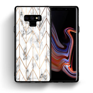 Θήκη Samsung Note 9 Gold Geometric Marble από τη Smartfits με σχέδιο στο πίσω μέρος και μαύρο περίβλημα | Samsung Note 9 Gold Geometric Marble case with colorful back and black bezels