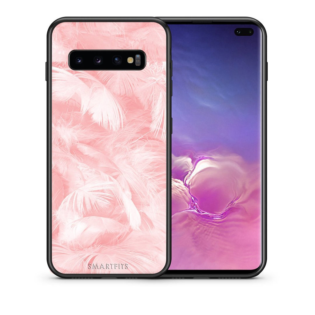 33 - samsung galaxy s10 plus Pink Feather Boho case, cover, bumper