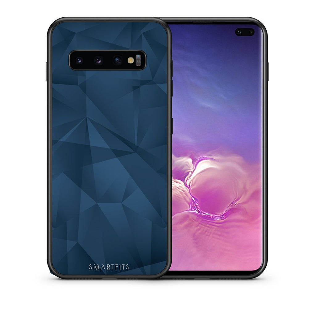 39 - samsung galaxy s10 plus Blue Abstract Geometric case, cover, bumper