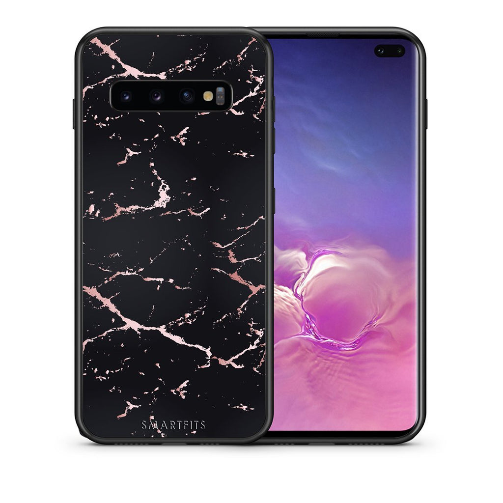 4 - samsung galaxy s10 plus Black Rosegold Marble case, cover, bumper