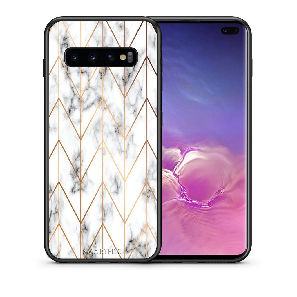 44 - samsung galaxy s10 plus Gold Geometric Marble case, cover, bumper