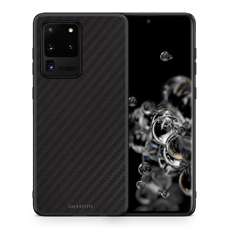 Θήκη Samsung S20 Ultra Black Carbon από τη Smartfits με σχέδιο στο πίσω μέρος και μαύρο περίβλημα | Samsung S20 Ultra Black Carbon case with colorful back and black bezels