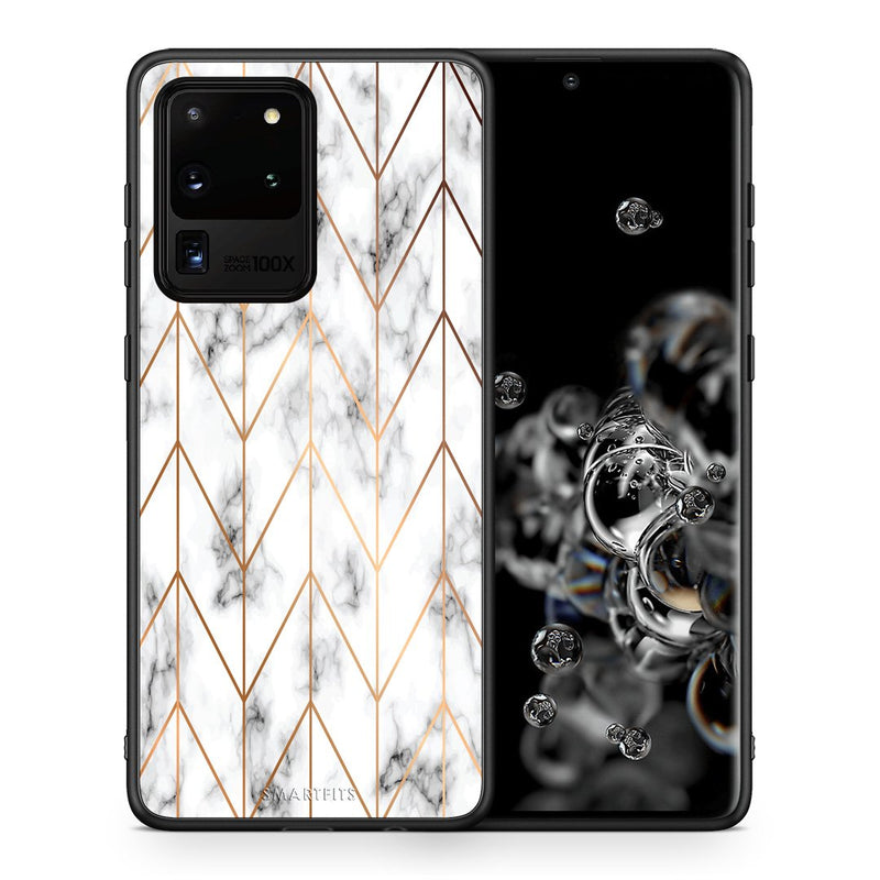 Θήκη Samsung S20 Ultra Gold Geometric Marble από τη Smartfits με σχέδιο στο πίσω μέρος και μαύρο περίβλημα | Samsung S20 Ultra Gold Geometric Marble case with colorful back and black bezels