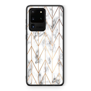 44 - Samsung S20 Ultra Gold Geometric Marble case, cover, bumper