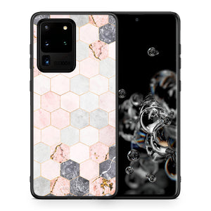 Θήκη Samsung S20 Ultra Hexagon Pink Marble από τη Smartfits με σχέδιο στο πίσω μέρος και μαύρο περίβλημα | Samsung S20 Ultra Hexagon Pink Marble case with colorful back and black bezels