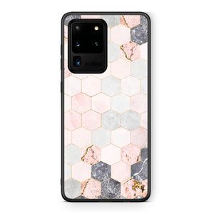 4 - Samsung S20 Ultra Hexagon Pink Marble case, cover, bumper