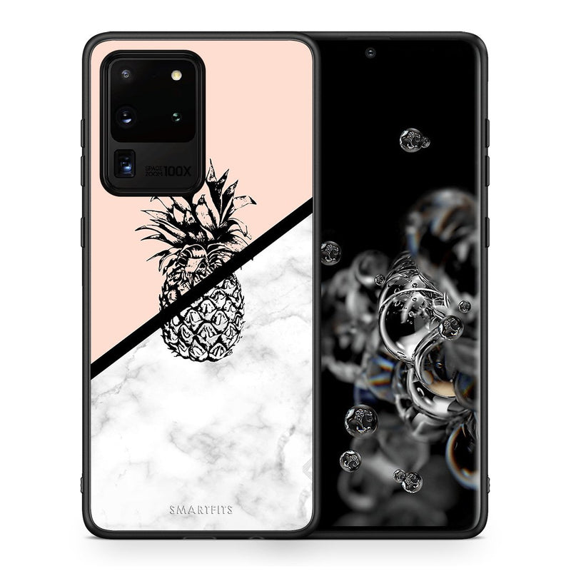 Θήκη Samsung S20 Ultra Pineapple Marble από τη Smartfits με σχέδιο στο πίσω μέρος και μαύρο περίβλημα | Samsung S20 Ultra Pineapple Marble case with colorful back and black bezels