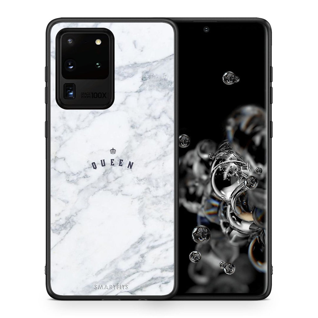 Θήκη Samsung S20 Ultra Queen Marble από τη Smartfits με σχέδιο στο πίσω μέρος και μαύρο περίβλημα | Samsung S20 Ultra Queen Marble case with colorful back and black bezels