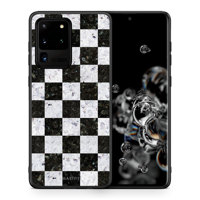 Θήκη Samsung S20 Ultra Square Geometric Marble από τη Smartfits με σχέδιο στο πίσω μέρος και μαύρο περίβλημα | Samsung S20 Ultra Square Geometric Marble case with colorful back and black bezels