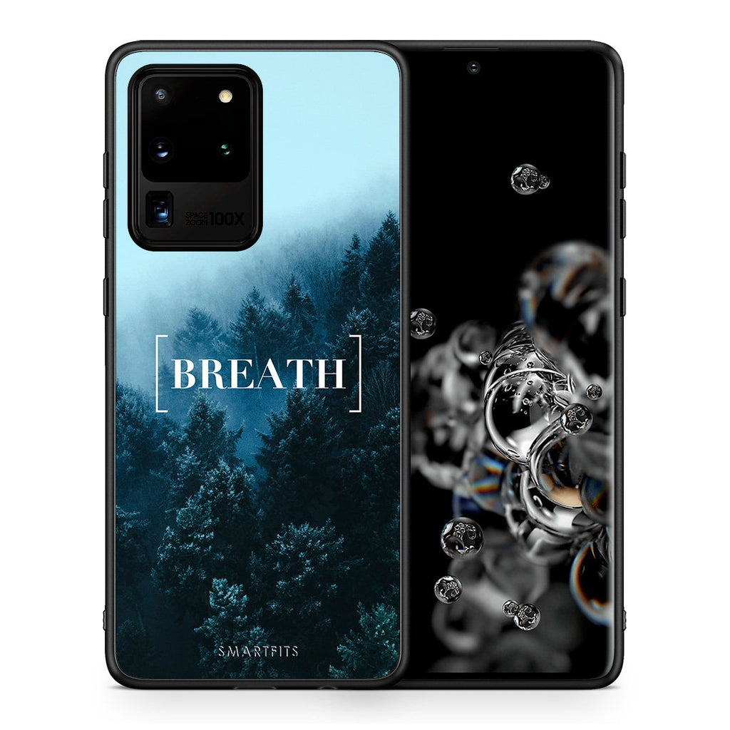 Θήκη Samsung S20 Ultra Breath Quote από τη Smartfits με σχέδιο στο πίσω μέρος και μαύρο περίβλημα | Samsung S20 Ultra Breath Quote case with colorful back and black bezels