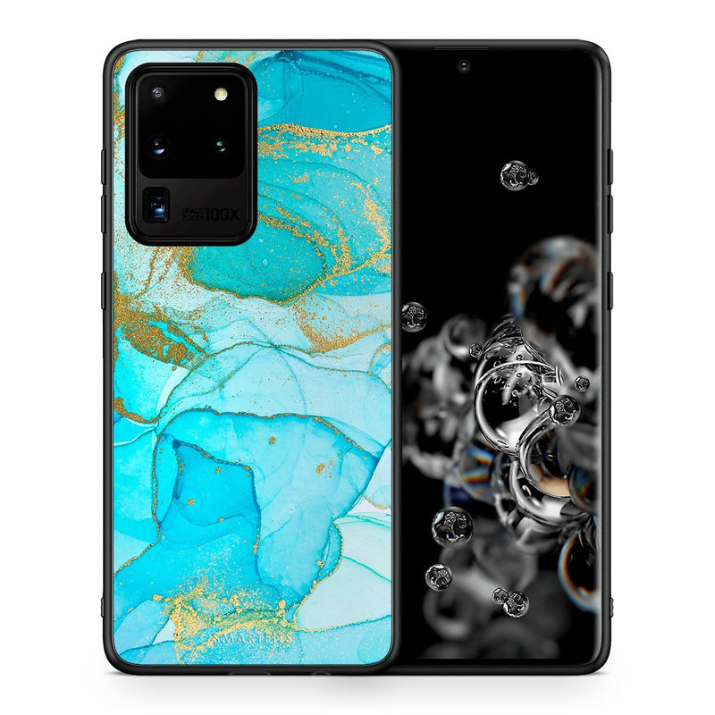 Θήκη Samsung S20 Ultra Turquoise Gold Watercolor από τη Smartfits με σχέδιο στο πίσω μέρος και μαύρο περίβλημα | Samsung S20 Ultra Turquoise Gold Watercolor case with colorful back and black bezels