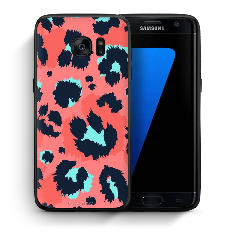 Θήκη Samsung S7 Edge Pink Leopard Animal από τη Smartfits με σχέδιο στο πίσω μέρος και μαύρο περίβλημα | Samsung S7 Edge Pink Leopard Animal case with colorful back and black bezels