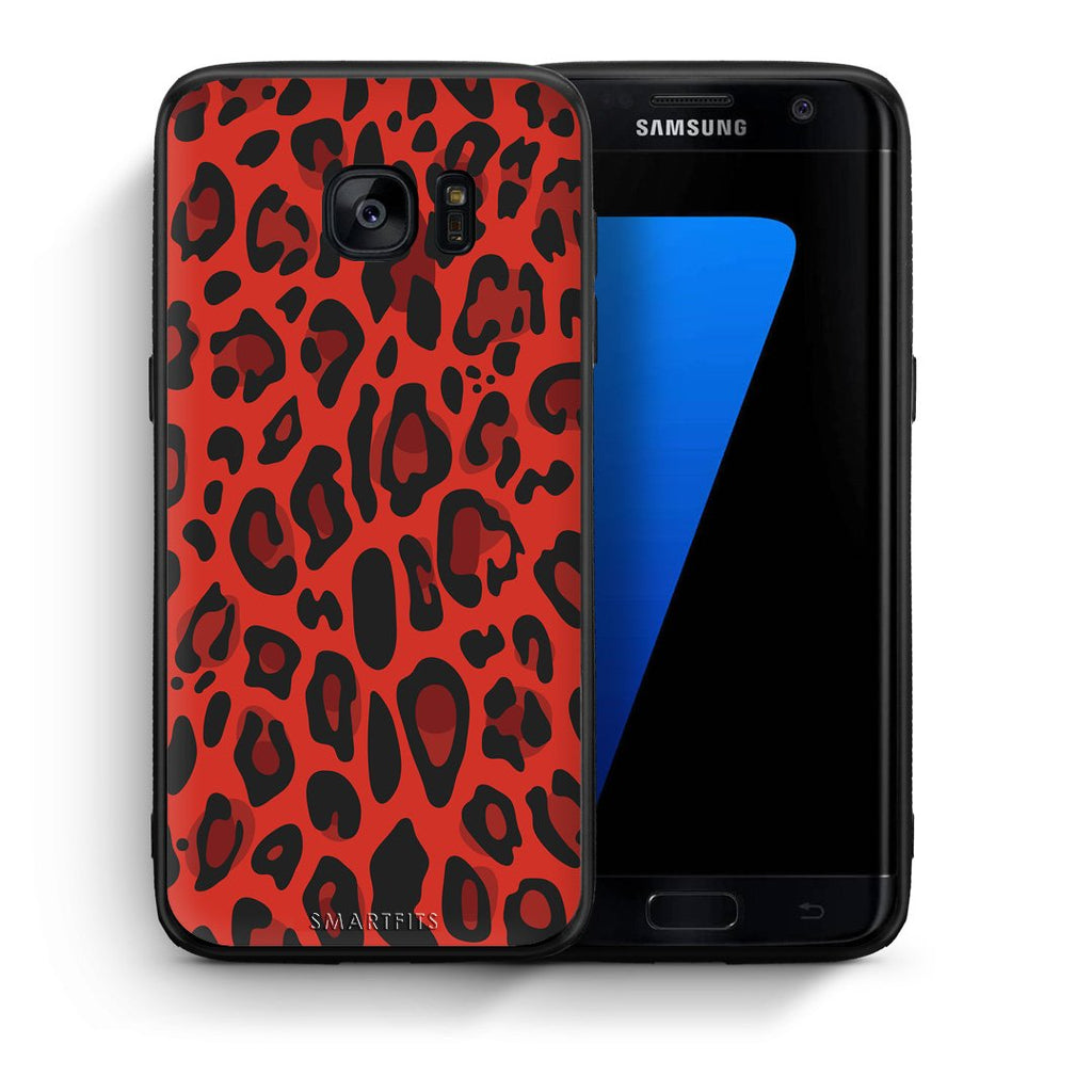 4 - samsung galaxy s7 edge Red Leopard Animal case, cover, bumper