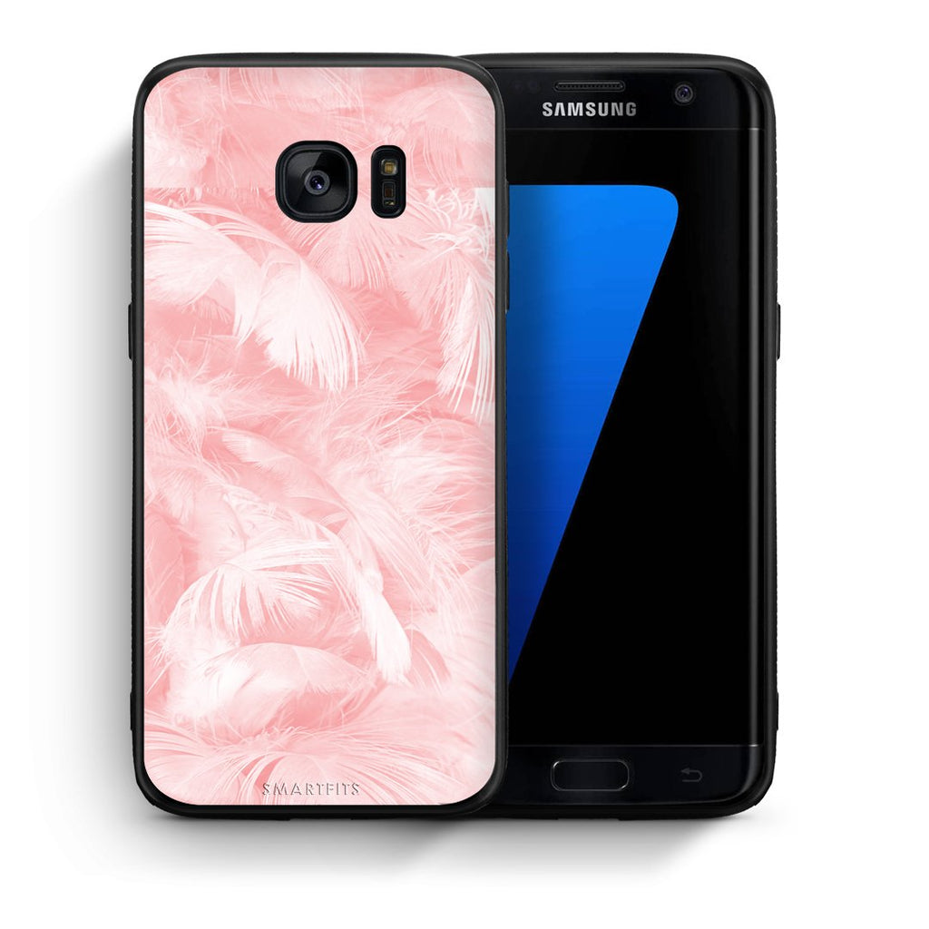 33 - samsung galaxy s7 edge Pink Feather Boho case, cover, bumper