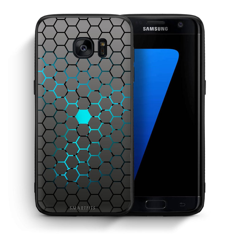 Θήκη Samsung S7 Edge Hexagonal Geometric από τη Smartfits με σχέδιο στο πίσω μέρος και μαύρο περίβλημα | Samsung S7 Edge Hexagonal Geometric case with colorful back and black bezels