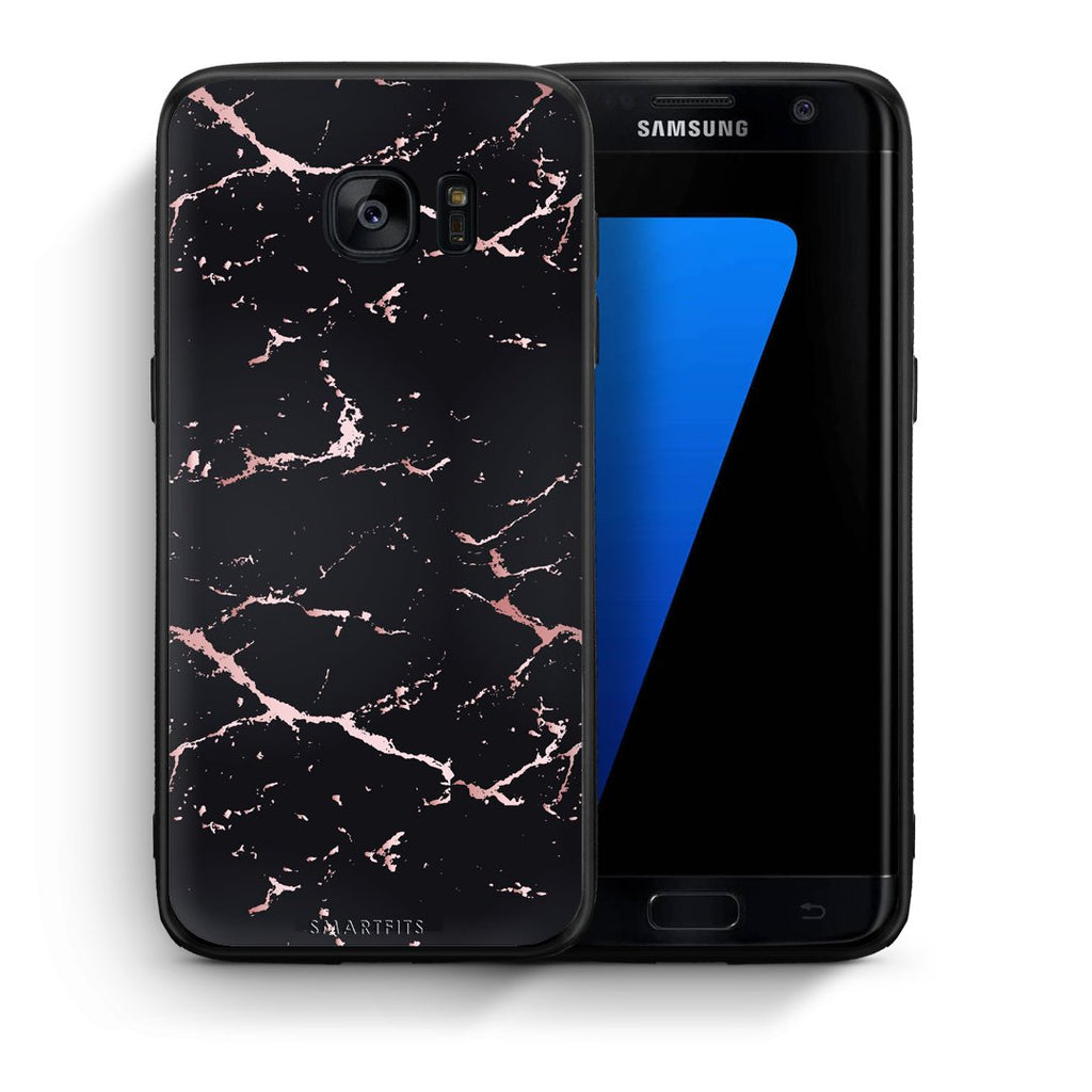 4 - samsung galaxy s7 edge Black Rosegold Marble case, cover, bumper