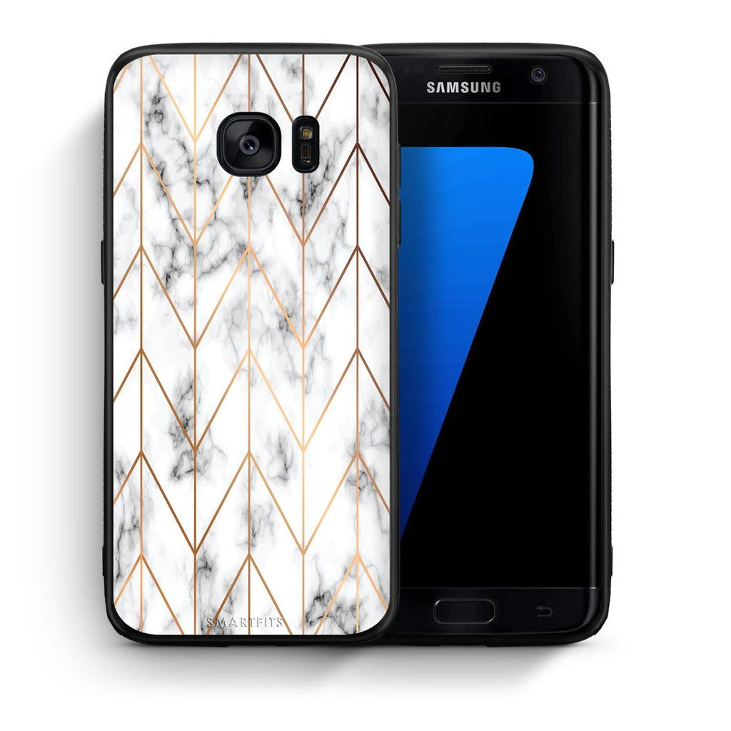 44 - samsung galaxy s7 edge Gold Geometric Marble case, cover, bumper