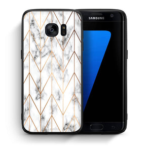 Θήκη Samsung S7 Edge Gold Geometric Marble από τη Smartfits με σχέδιο στο πίσω μέρος και μαύρο περίβλημα | Samsung S7 Edge Gold Geometric Marble case with colorful back and black bezels