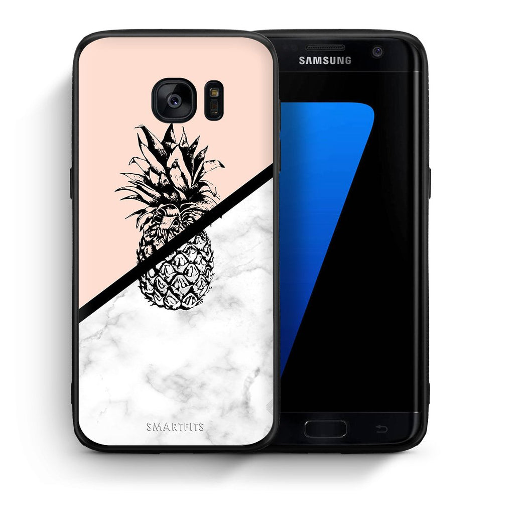 4 - samsung s7 edge Pineapple Marble case, cover, bumper