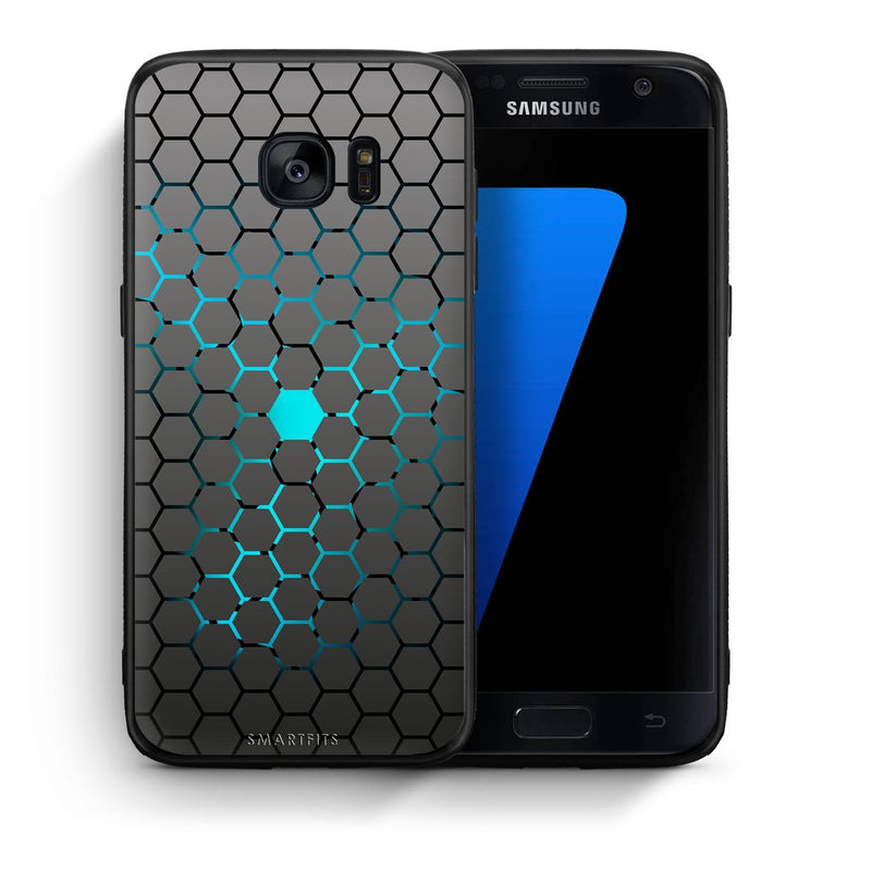 Θήκη Samsung S7 Hexagonal Geometric από τη Smartfits με σχέδιο στο πίσω μέρος και μαύρο περίβλημα | Samsung S7 Hexagonal Geometric case with colorful back and black bezels