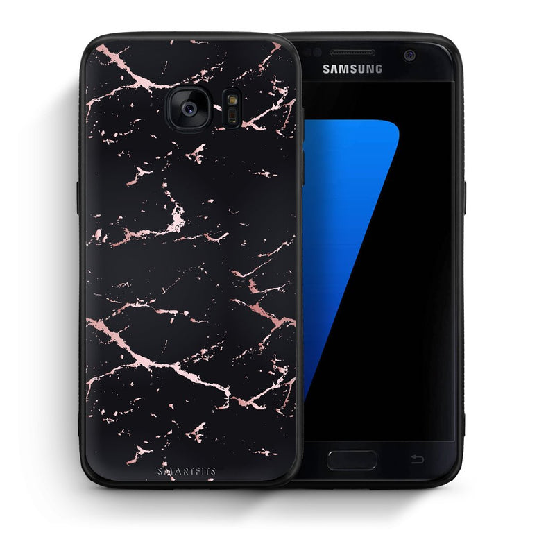 4 - samsung galaxy s7 Black Rosegold Marble case, cover, bumper