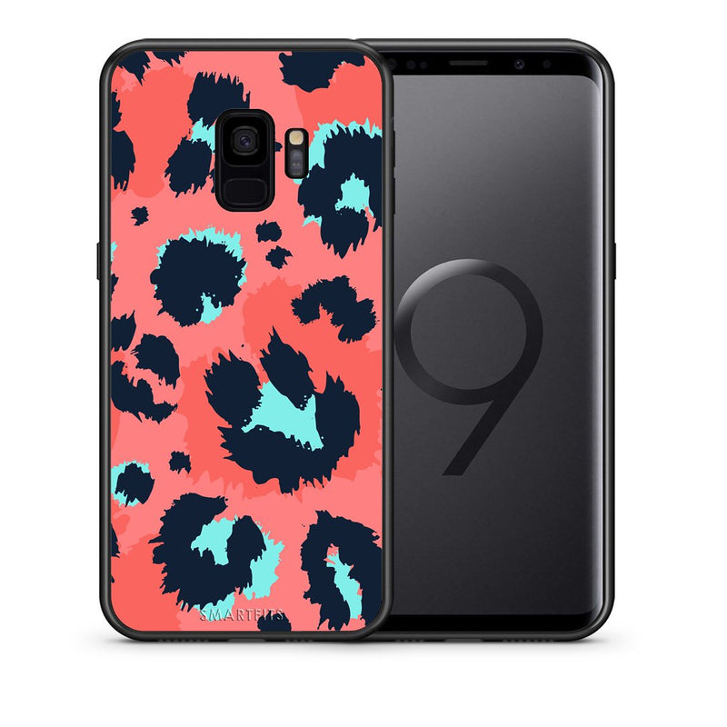 Θήκη Samsung S9 Pink Leopard Animal από τη Smartfits με σχέδιο στο πίσω μέρος και μαύρο περίβλημα | Samsung S9 Pink Leopard Animal case with colorful back and black bezels