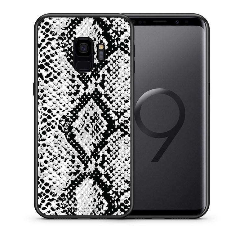 Θήκη Samsung S9 White Snake Animal από τη Smartfits με σχέδιο στο πίσω μέρος και μαύρο περίβλημα | Samsung S9 White Snake Animal case with colorful back and black bezels