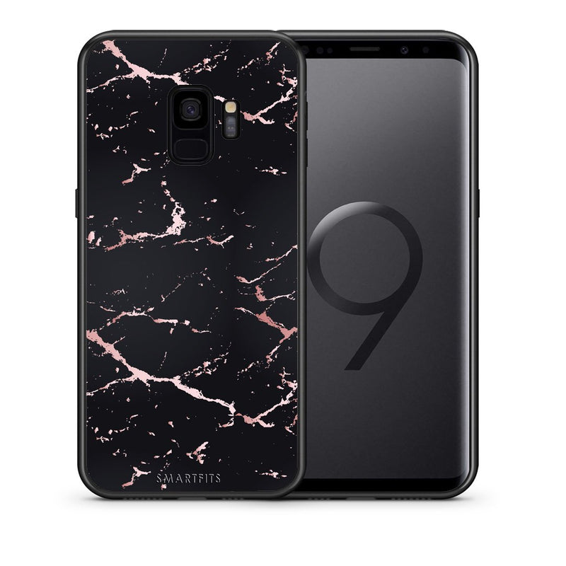 4 - samsung galaxy s9 Black Rosegold Marble case, cover, bumper