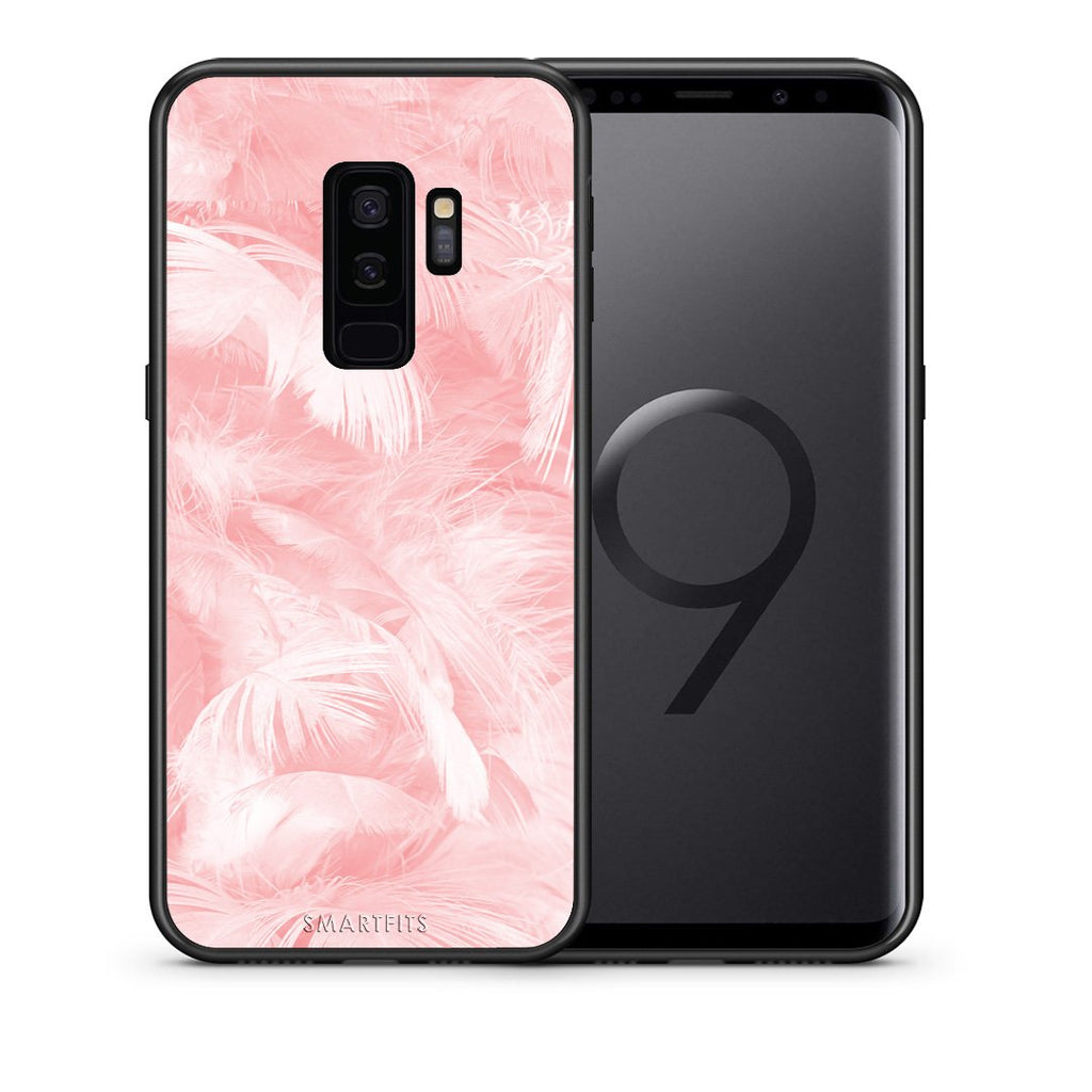 33 - samsung galaxy s9 plus Pink Feather Boho case, cover, bumper