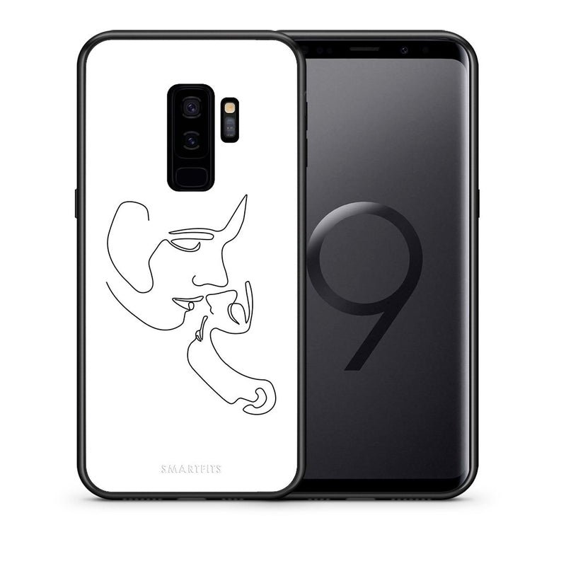 Θήκη Samsung S9 Plus LineArt Kiss από τη Smartfits με σχέδιο στο πίσω μέρος και μαύρο περίβλημα | Samsung S9 Plus LineArt Kiss case with colorful back and black bezels