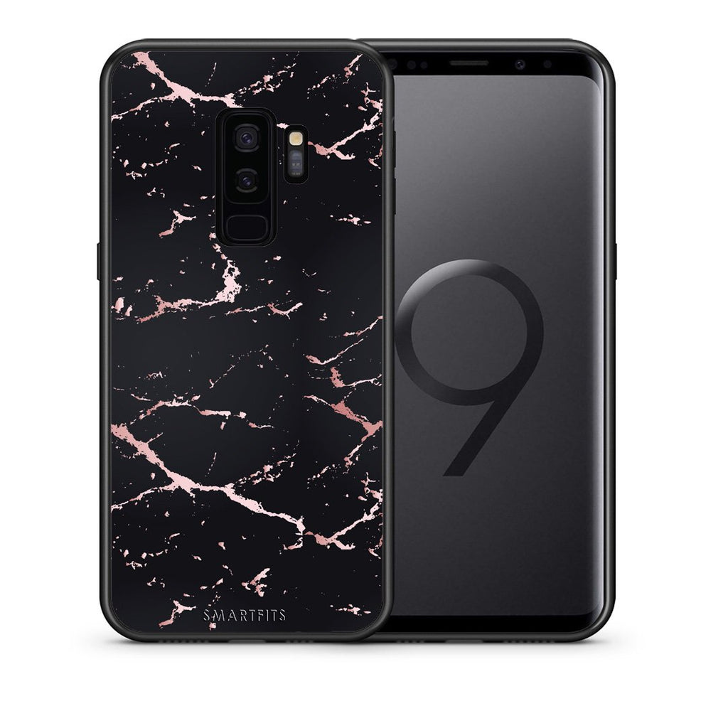 4 - samsung galaxy s9 plus Black Rosegold Marble case, cover, bumper