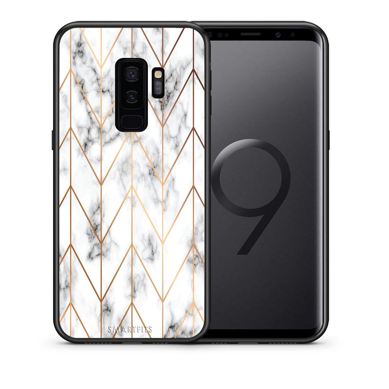Θήκη Samsung S9 Plus Gold Geometric Marble από τη Smartfits με σχέδιο στο πίσω μέρος και μαύρο περίβλημα | Samsung S9 Plus Gold Geometric Marble case with colorful back and black bezels
