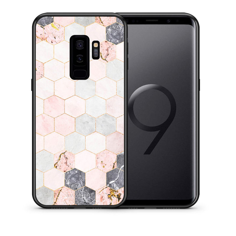 Θήκη Samsung S9 Plus Hexagon Pink Marble από τη Smartfits με σχέδιο στο πίσω μέρος και μαύρο περίβλημα | Samsung S9 Plus Hexagon Pink Marble case with colorful back and black bezels
