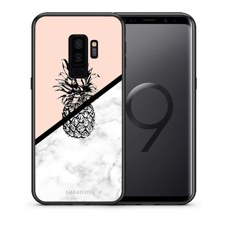 Θήκη Samsung S9 Plus Pineapple Marble από τη Smartfits με σχέδιο στο πίσω μέρος και μαύρο περίβλημα | Samsung S9 Plus Pineapple Marble case with colorful back and black bezels